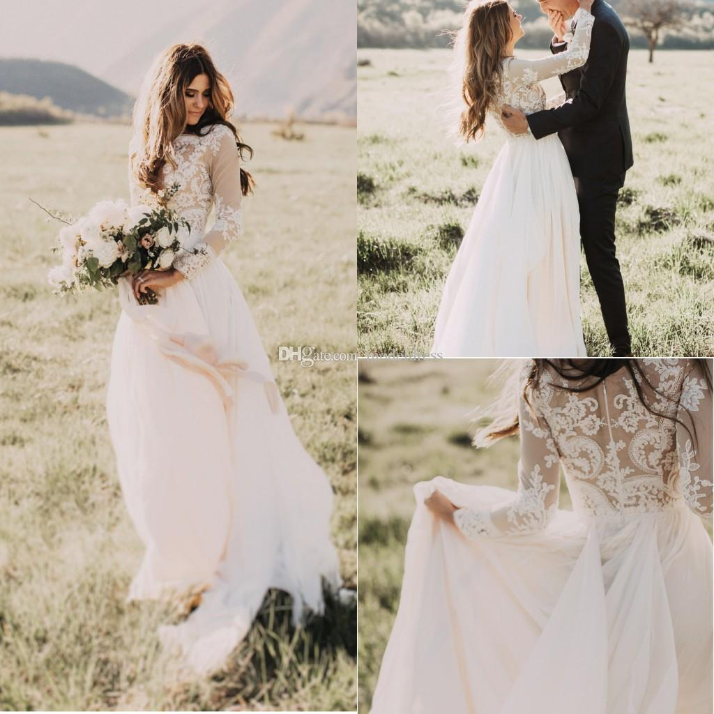New Long Sleeves Country Wedding Dresses 2018 Jewel Appliques Champagne Lining A Line Chiffon Bohemian Boho Bridal Gowns Cheap Custom Made