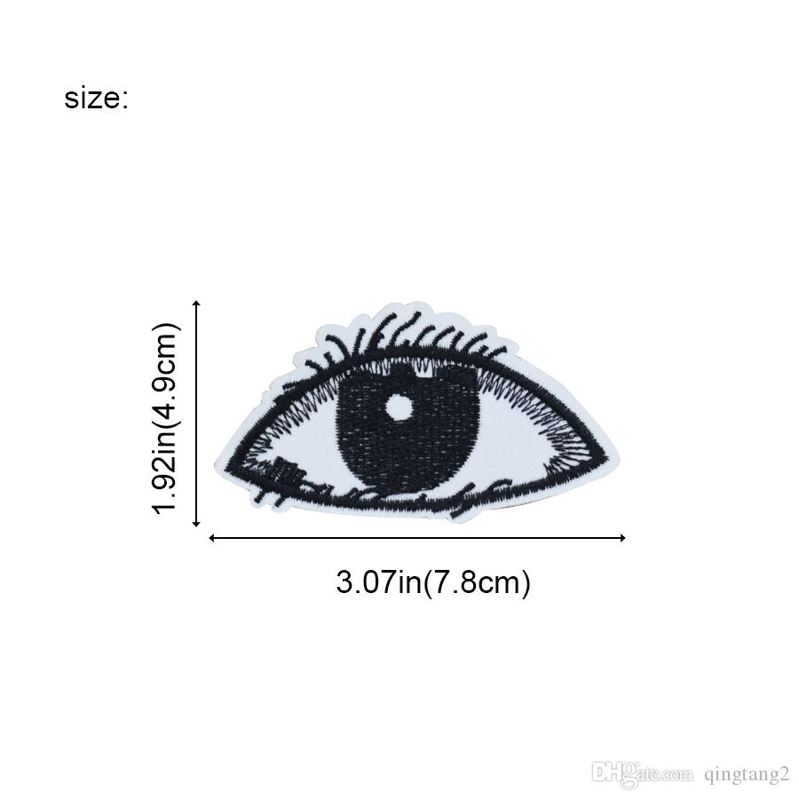 Black Eyes Embroidery Patches for Clothing Bags Iron on Transfer Applique Patch for Garment Jeans DIY Sew on Embroidery Badge