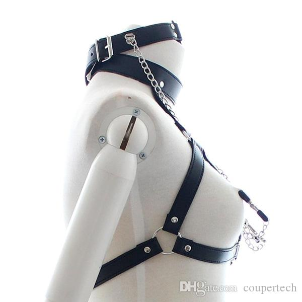 PU Leather Bondage Restraints O Ring Gag Nipple Clamps Slave Collar Fetish Erotic Adult Games Sex toys for Couples