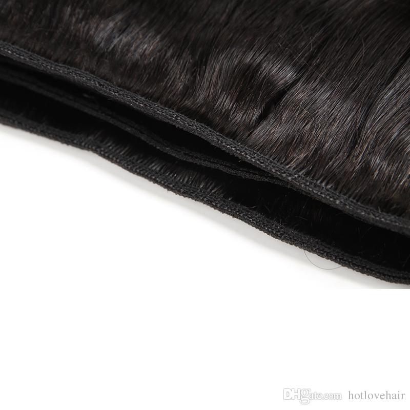 Pre desplumado 360 Frontal de encaje con 3 paquetes Recto brasileño de la Virgen del cabello humano teje con 360 Frontal de cierre 22 * 4 * 2 Total 4Piezas / porción