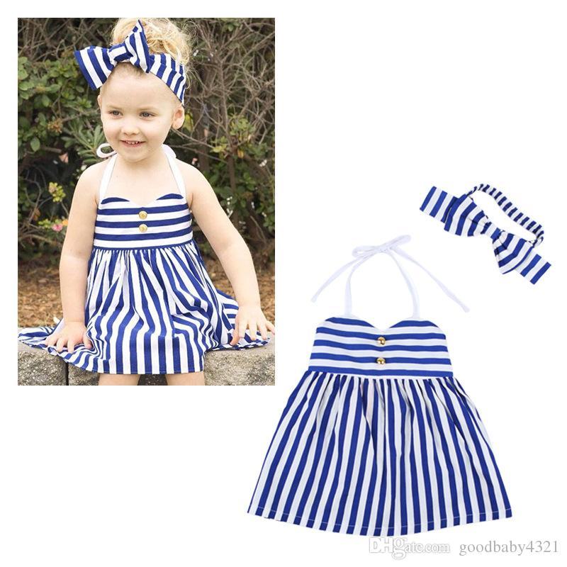 vestito a strisce della neonata con il vestito dolce dalla principessa della fascia dell'arco la ragazza dei bambini del tutu del boutique della ragazza dei bambini vestiti increspati estate della ragazza dei bambini