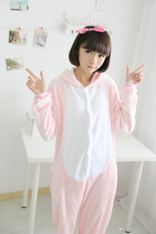 Adultos pijamas de franela de cerdo de color rosa todo en uno Trajes de pijama trajes de cosplay ropa para adultos mono de dibujos animados de cerdo lindo pijamas mono de los monos