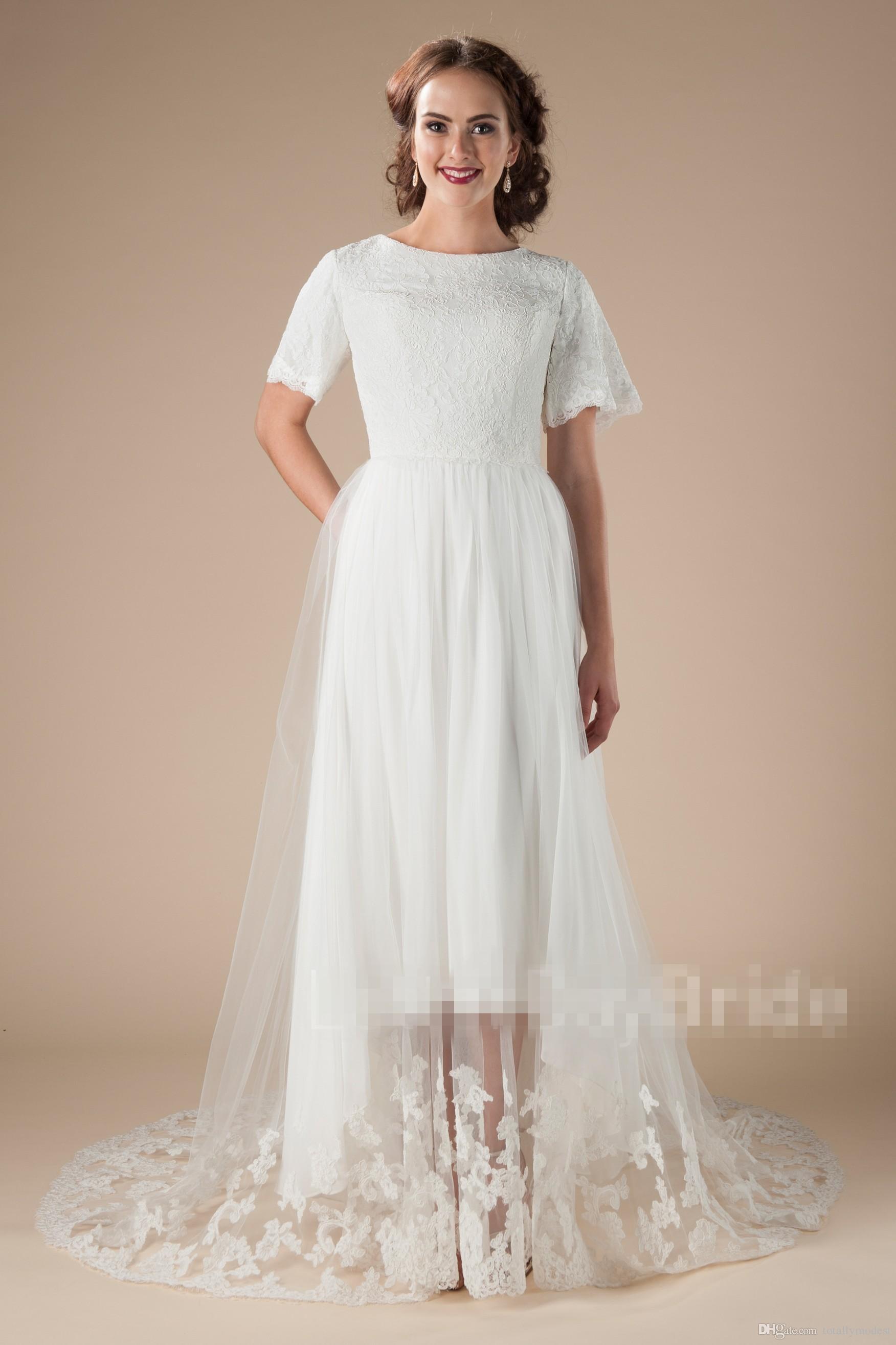 Grosshandel 2018 Neue Vintage High Low Spitze Modest Brautkleider Mit