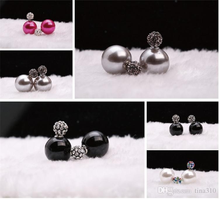 Südkorea 32 Arten Perle Ohrringe Shambhala beide Seiten Bohrer Bonbons Farbe große Perle Ohrringe Ohrstecker 2981