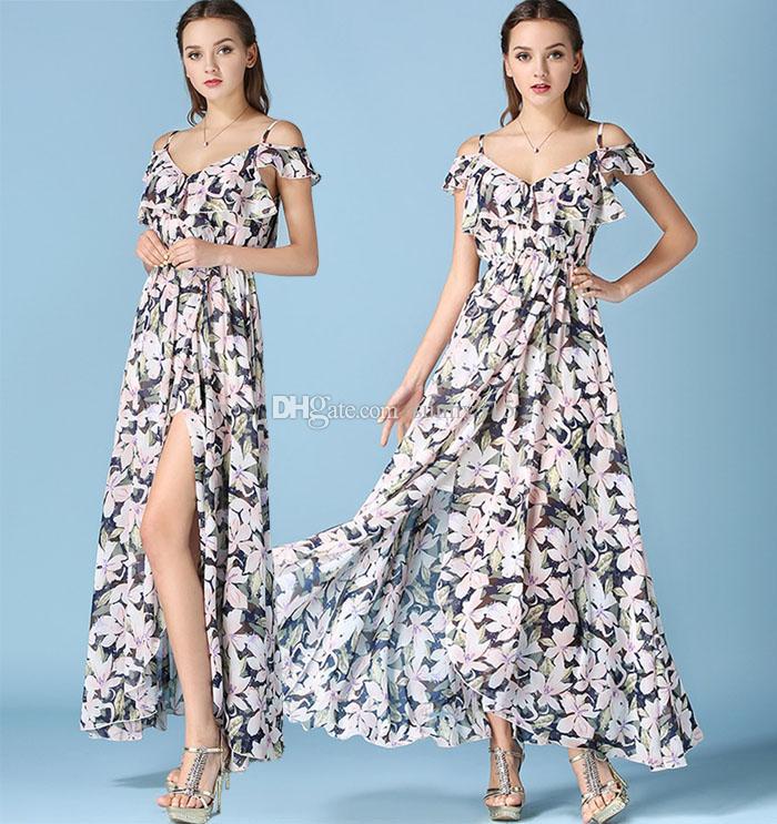 c3fd5d557c Summer Women Off Shoulder Chiffon Print Ruffle Dress Sexy Split Long Dress  Maxi Dresses Bohemian Beach Dress Floor Length Ball Gown Dresss Womens  Party ...