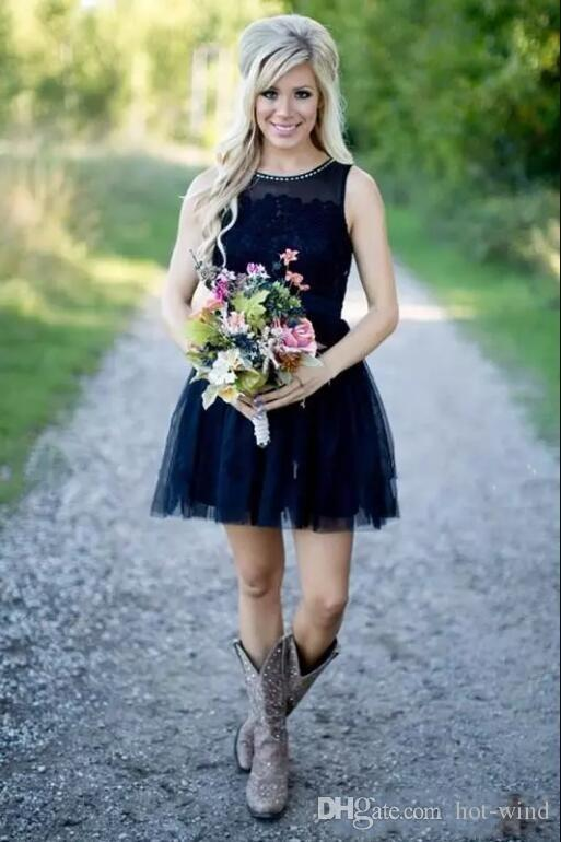 2017 Dark Navy Country Style Short Bridesmaid Dresses Sheer Neck Lace Tulle Maid Of Honor Gowns Formal Wedding Party Dress