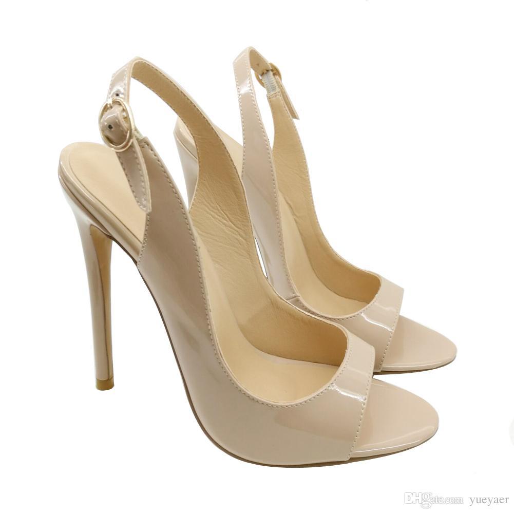Karmran Handmade New Sexy moda donna Bissima 120mm Open Toe SlingBack tacco alto Sandali Party Shoes Fashion Office Sandali da sera