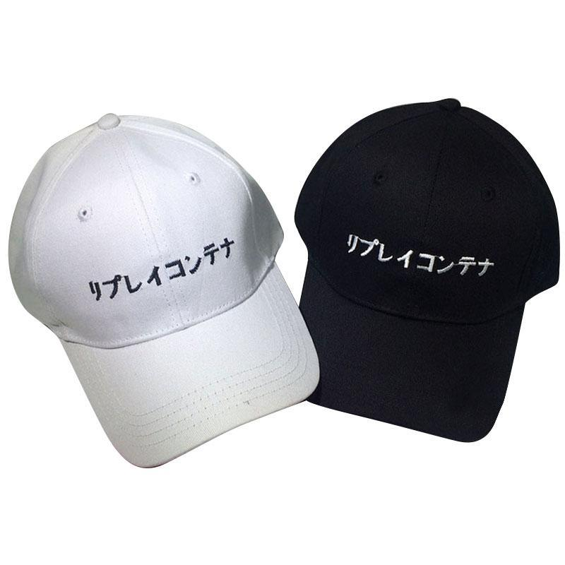 Wholesale- 2017 Fashion Japanese Letter Embroidery Baseball Cap Hats ... 4171ba545934