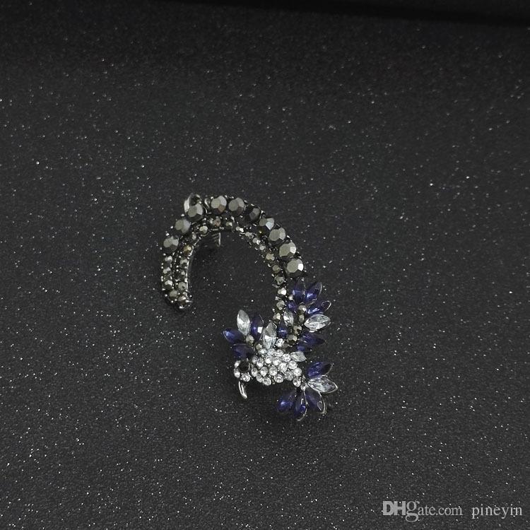 Güzel Kuş Bayan Rhinestone Kristal Küpe Kulak Manşetleri Klip Küpe Pendientes Earcuff Kulak Manşet Olmayan piercing Küpe Takı