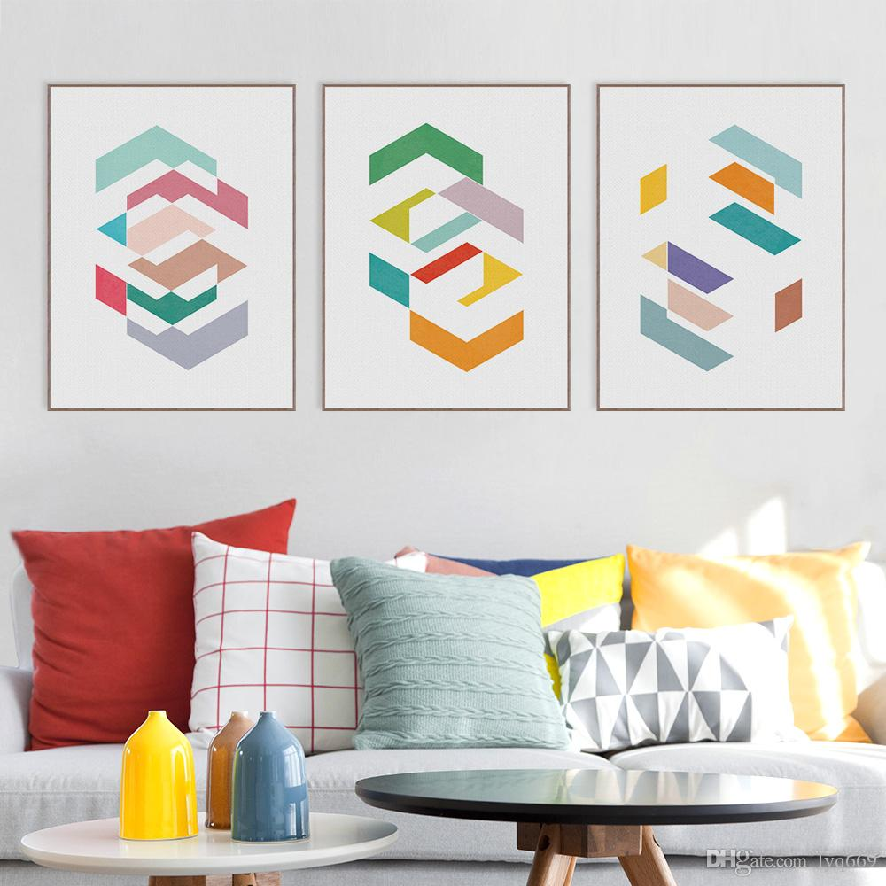 Modern Original Colorful Abstract Geometric Shape Canvas Art Print Poster Nordic Wall Pictures Home Decor Painting No Frame