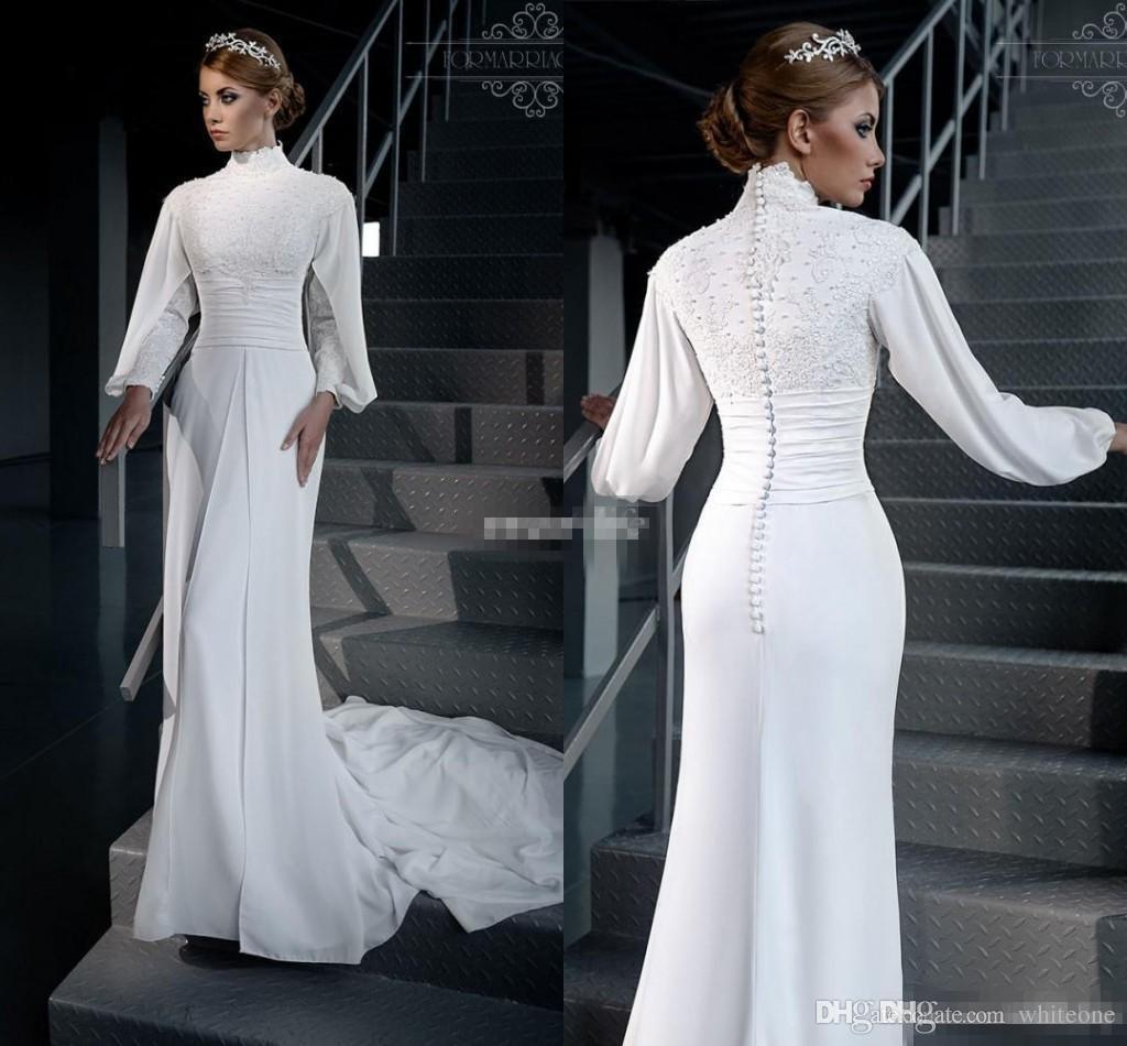 20da161d9da5 2017 Vintage Muslim Sheath Wedding Dresses High Neck Long Sleeves White  Chiffon Lace Plus Size Vestidos De Novia Garden Bridal Wedding Gowns  Wedding Dresses ...