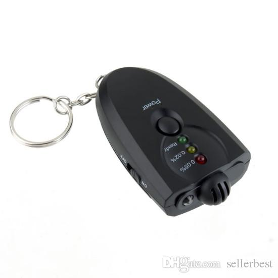 with Retail Box Portable mini Keychain LED Alcohol Breath Tester Breathalyzer with FlashLight Free DHL