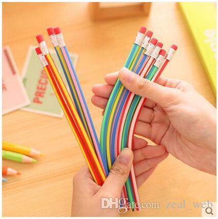 Korea Cute Flexible Soft Pencil Colorful Magic Bendy Stationery with Eraser Student School Office Use2
