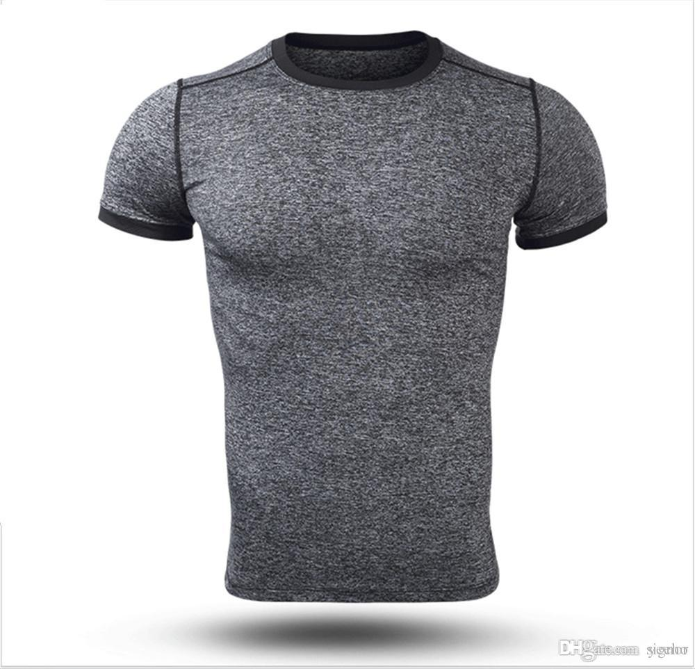 New Men Polyester T-shirt Summer Casual Quick Dry T-shirt Hot Male Tight Tees for Fitness XZ-011