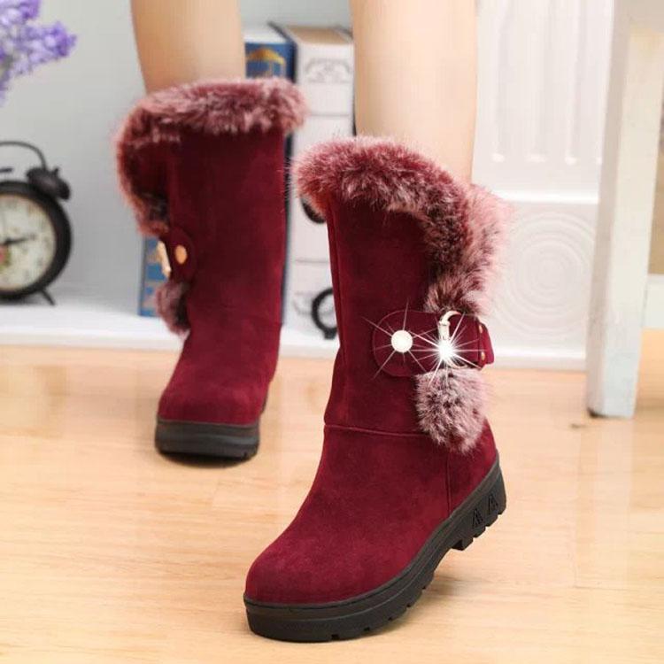 Plush botas de inverno alinhados para borracha meninas inverno plana pele Carregador fêmea de coelho sapatos inverno quente animal de pelúcia. XDX-029