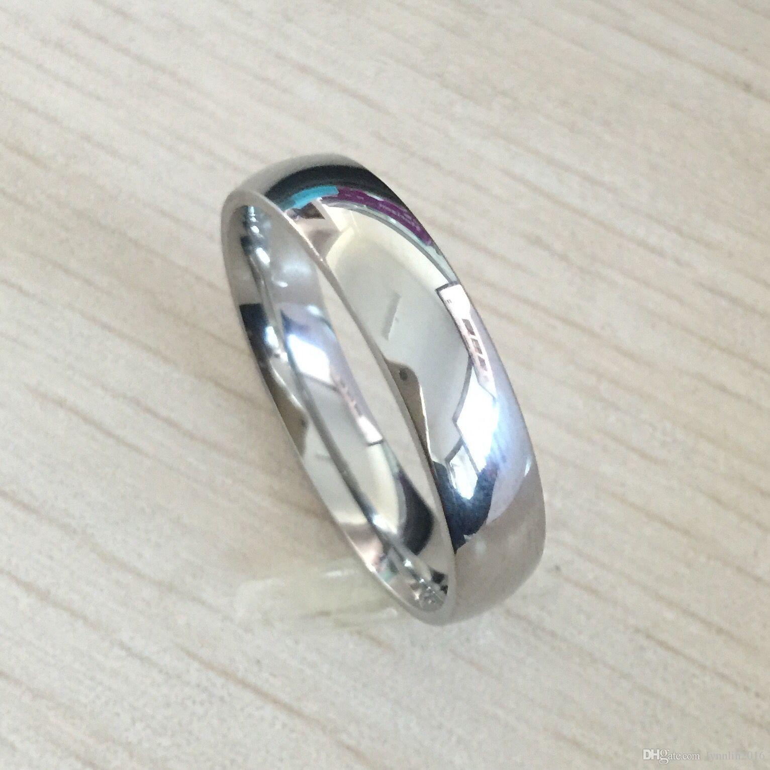 Classico maschio reale argento 18 carati in oro bianco placcato oro 6mm titanio d'acciaio donne uomini anello di nozze di alta qualità non sbiadisce amanti gioielli da sposa