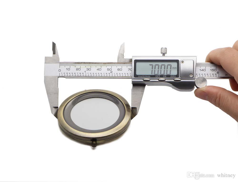 Puste kompaktowe lustro DIY metalowe kieszeń kosmetyczny przenośny Merrorr 70mm / 2,75 calowy kolor brązowy # 18410-3 Darmowa wysyłka
