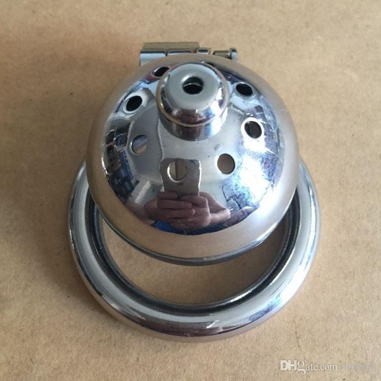 dispositivo de acero inoxidable pequeño macho adulto Castidad Cock jaula con Curva del martillo del anillo Sexo Juguetes Bondage cinturón de castidad 2016 del nuevo último diseño
