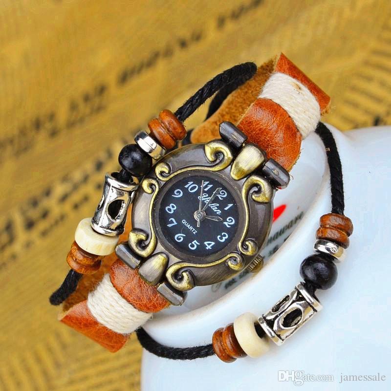 Freies Verschiffen heiße Verkaufs-Frauen-Retro- lederner Schmetterlings-Quarz-Handgelenk-Armband-Uhr 7 Farben wahlweise freigestellt neues freies Verschiffen