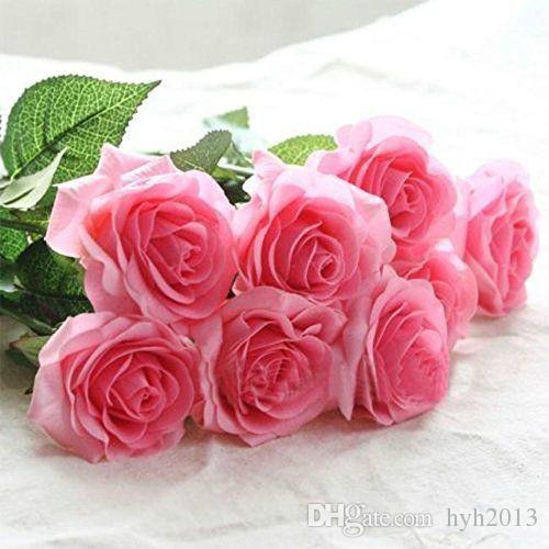 10 Stem Rose Silk Falso Flor Decor Folha Artificial Início nupcial do casamento Bouquet do partido
