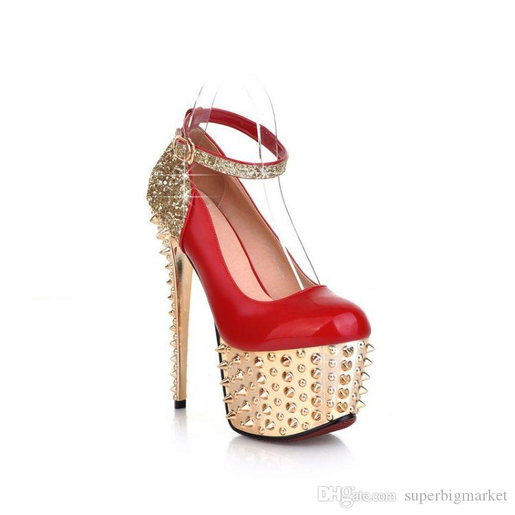 ff7f8b2ec7b 2015 Brand New Women S Sexy Stilettos High Heels Rivet Platform Pumps  Fashion Bling Nightclub Shoes Mens Boots Shoe From Superbigmarket