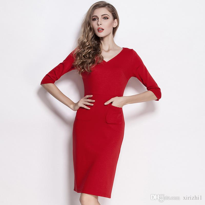 2016 Spring And Autumn New Women One-piece Dress Three Quarter ... 4988b6969ab3