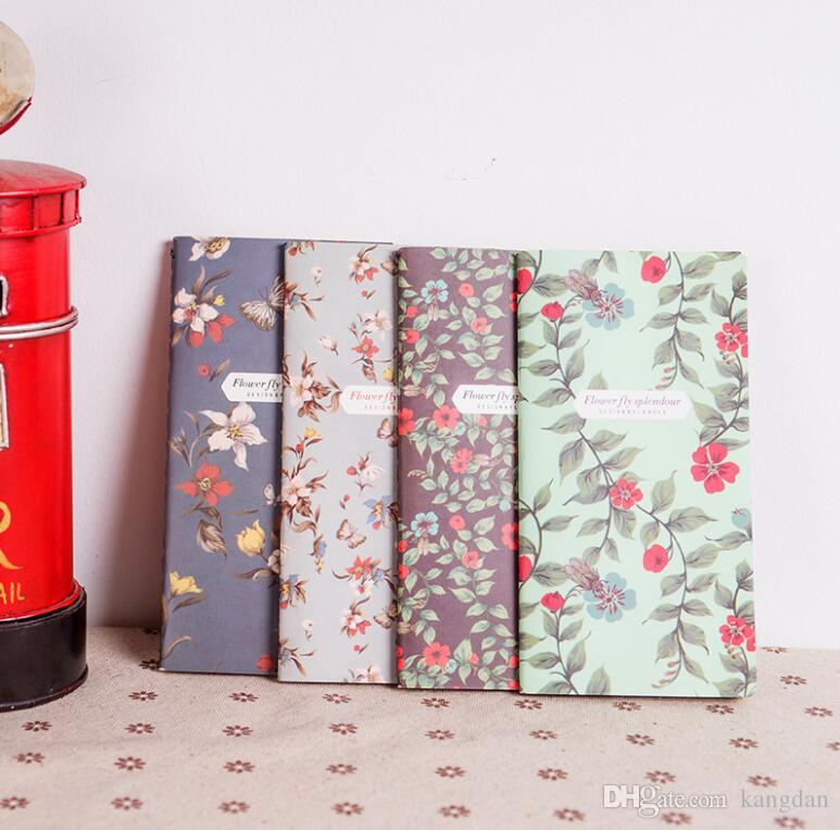 Vintage Fresh Style Flower Floral Kraft Paper Mini Notebook Pockets Notepad Diary Memo Office School Stationery baby Gifts