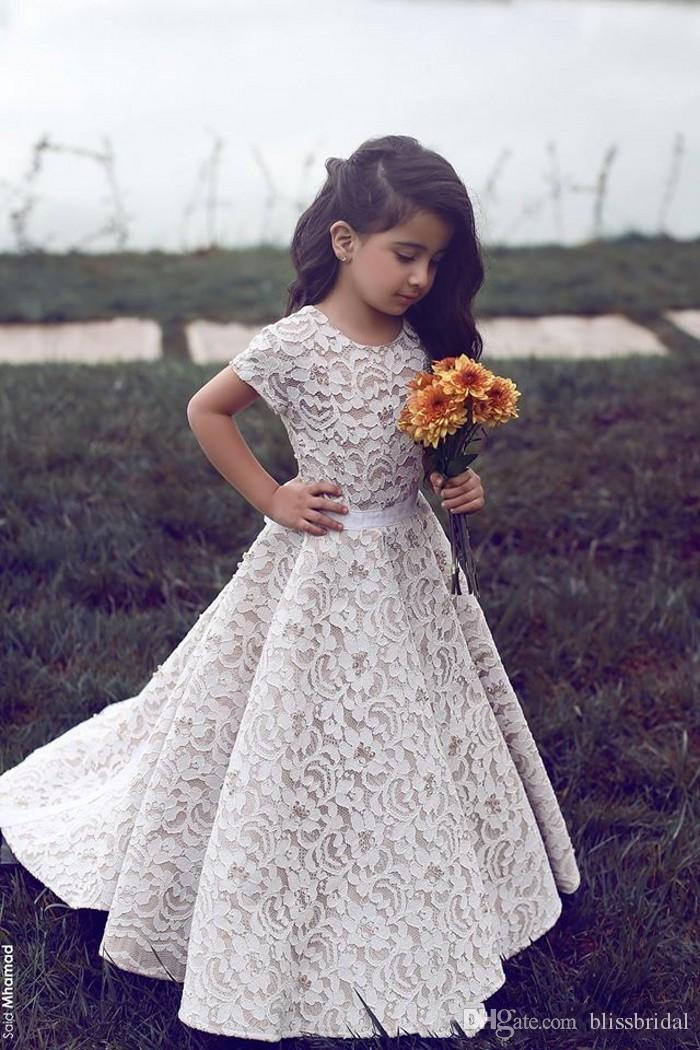Crew Neck Girls Party Dresses for Wedding 2017 Floor Length Full Lace Flower Girl Dresses Short Sleeve Baby Pageant Gowns Custom Made