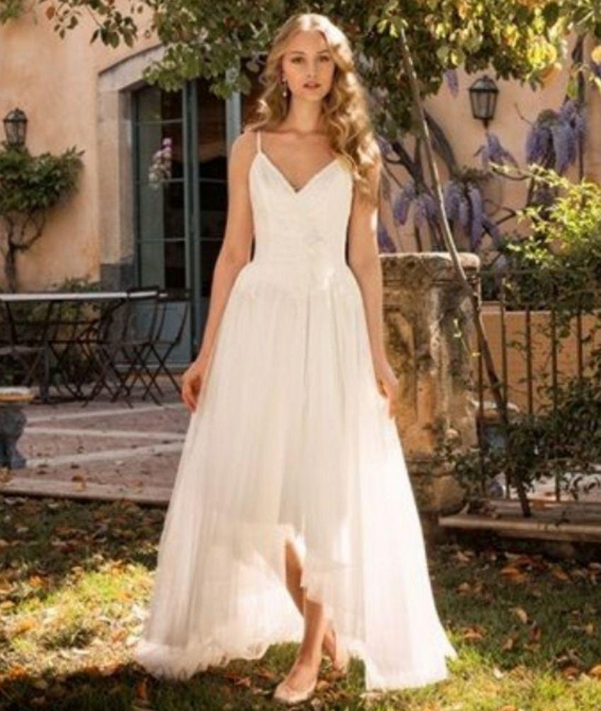 Suosikki 2017 High Low Short Front Long Back Beach Wedding: Discount A Line Wedding Dress High Low Spaghetti Strap V