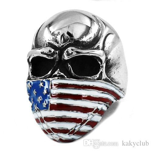 Kostenloser Versand! Amerikanische Flagge Ungläubig Schädel Ring Edelstahl Schmuck Klassische Vintage Motor Biker Schädel Männer Ring Großhandel SWR0368B