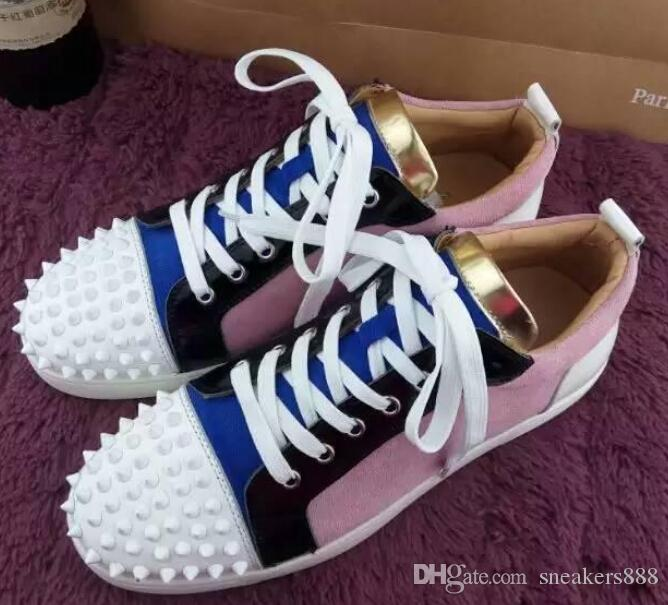 ca0830889aa Brands Low Top Red Bottom Spikes Sneakers Men Women Causal Flats Pink Suede  Lace Up Red Sole Shoes Sneakers Office Shoes From Sneakers888