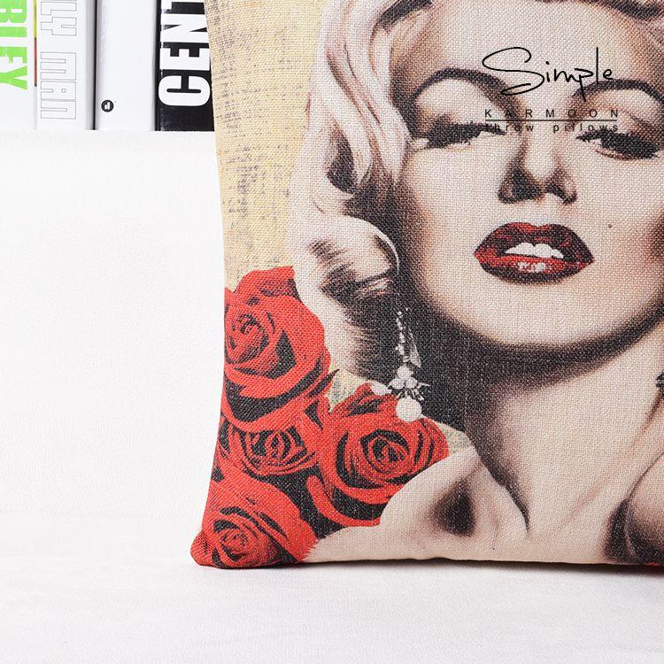 Rose Romantic Sexy Retro Marilyn Monroe Art Painting Decorative Pillow Case Cover Euro Pillows Emoji Home Decor Vintage Gift