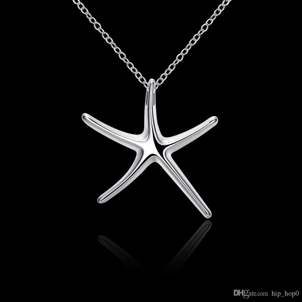 Fashion Jewelry Necklace Starfishes Pendants Chains 925 Jewelry Silver Plated Necklace Sea Star Pendant Cute Gift for Girls