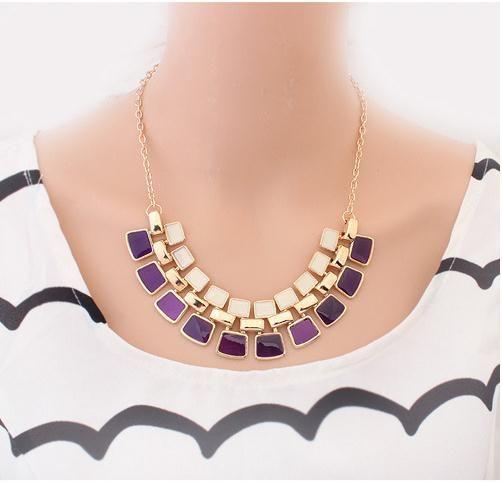 New Style Purple/Black/White Party Square Epoxy Necklaces Women Pendant Dress Necklace Length 55CM Fashion Girls Geometric Necklace