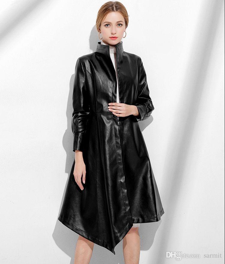 Schaf-Leder-Trench Coats Frauen Billig Verkauf Lange Herbst-Winter-Mantel-Frauen-Jacke Leder Schwarz Rot F0209