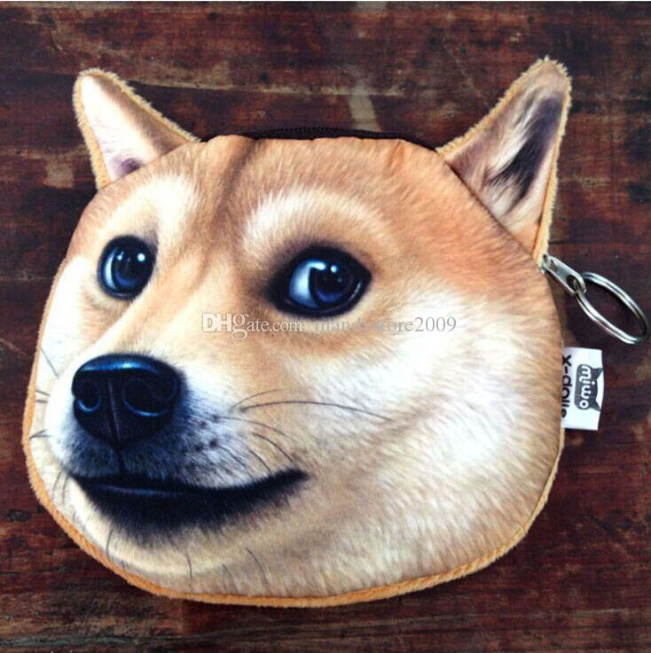 New Husky And Akita Dog Face Personality wallet Dog Face Purse Zipper Case Kids Purse 3D Digital Printing Wallets