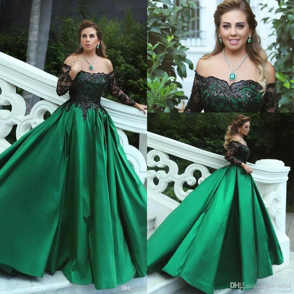 Said Mhmad Dark Green A Line Satin Long Prom Dresses 2018 Off The ...
