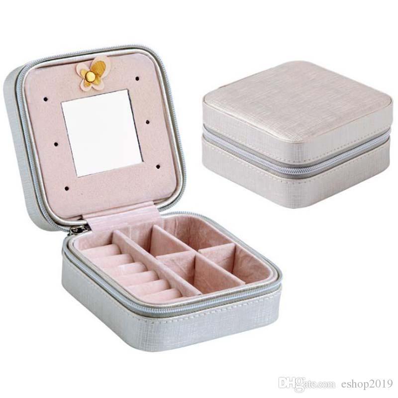 Caixa de Jóias Mini Moda das Mulheres de Viagem de Viagem Organizador de Maquiagem Falso Casket De Couro Com Zíper Barato Estilo Clássico Caso de Jóias
