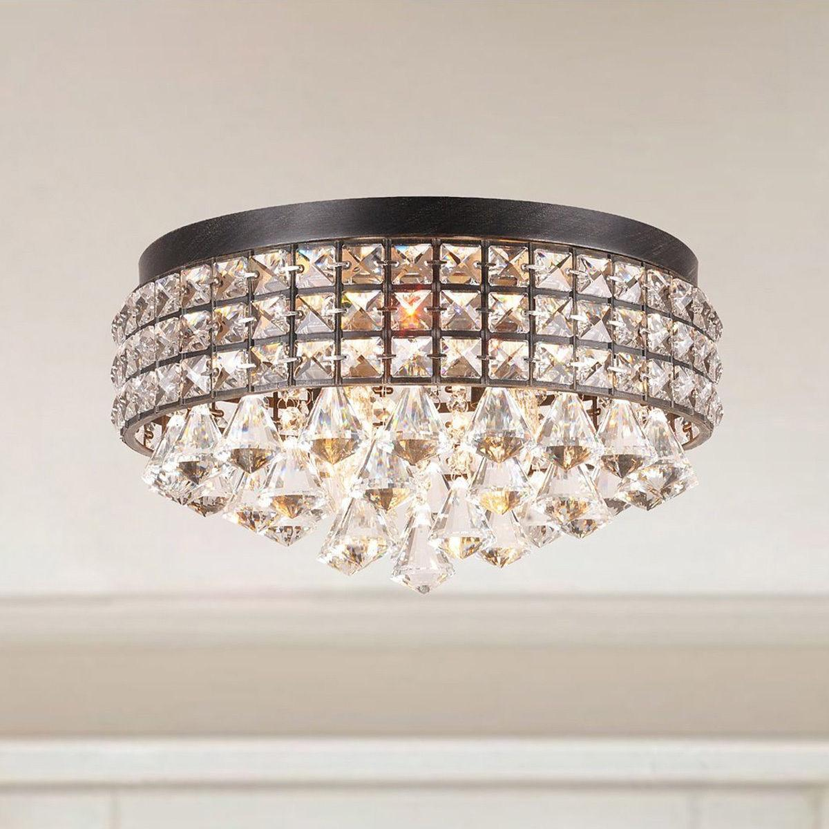 Discount Vintage Metal Frame Crystal Beads Chandelier Ceiling Lamp