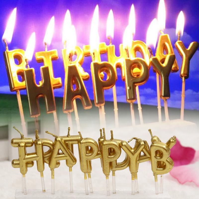 2018 New Arrival Birthday Cake Decoration Home Party Use Ideal Gold Silver HAPPY BIRTHDAY Candle Candles From Jk Chen 381