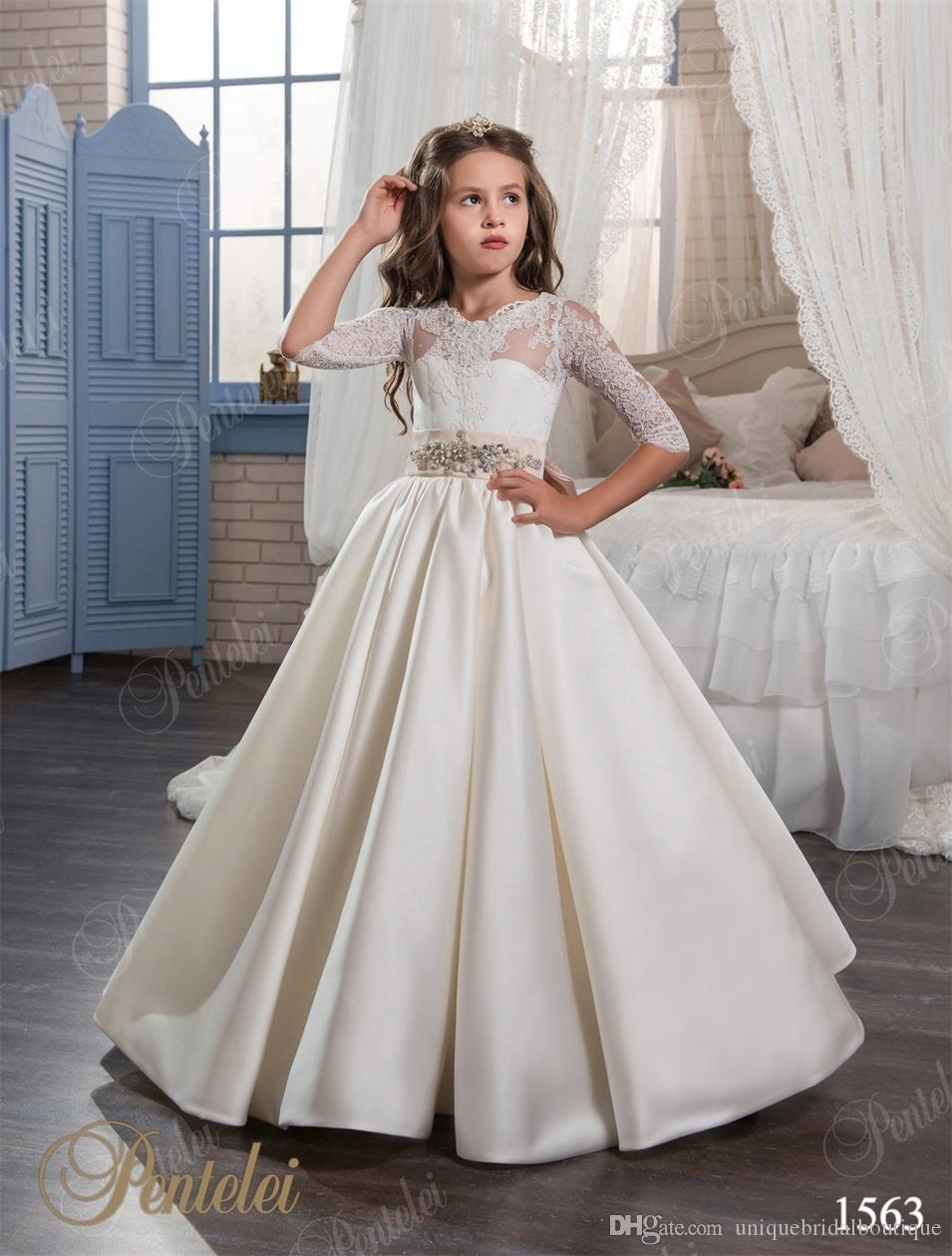 2017 vintage girls bridesmaid dresses with 34 long sleeves and 2017 vintage girls bridesmaid dresses with 34 long sleeves and lace up back soft satin a line flower girls gowns for toddlers bonnie jean dresses ombrellifo Images