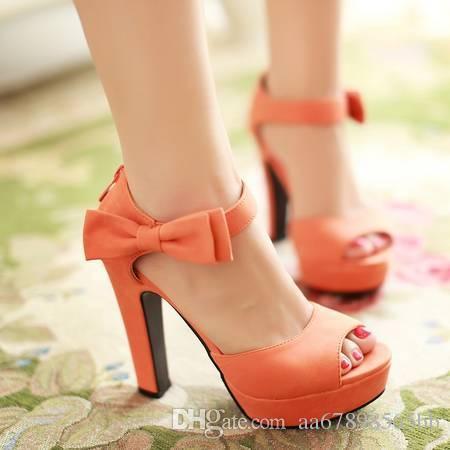 النساء Bowknot منصة للماء عالية الكعب الصنادل زقزقة اصبع القدم أحذية السيدات الصيف