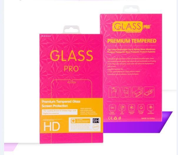 Laser colored border Retail Package Box Pack Tempered Glass 9H Screen Protector for iphone X XS MAX XR 8 7 Galaxy S9 Plus