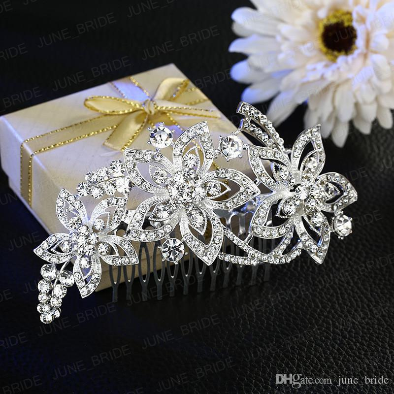 New Style Delicate Bridal Hair Comb Shinny Fairy Handmade Crystal Rhinestone Floral Wedding Prom Evening Party Headpieces Jewelry Accessory