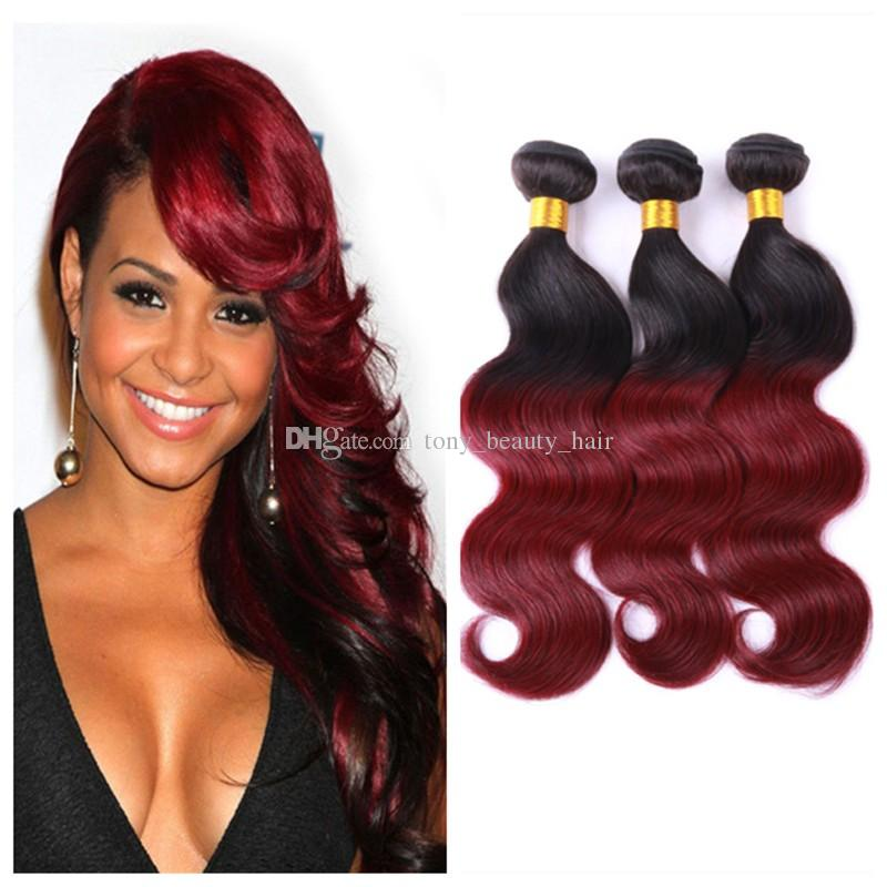Wholesale Prices Two Tone 1b99j Burgundy Ombre Malaysian Human