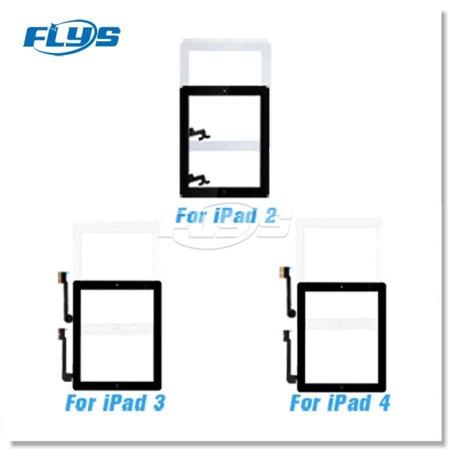 Für iPad 2 3 4 Touchscreen Digitizer Assembly Ersatz Mit Home Button Flex kabel IC Freies DHL