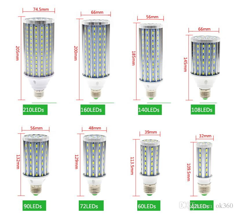 E27 E40 10W 20W 25W 30W 40W 60W 80W LED Corn Bulb SMD5730 No Flicker 85V-265V LED lamp Spotlight For light & lighting