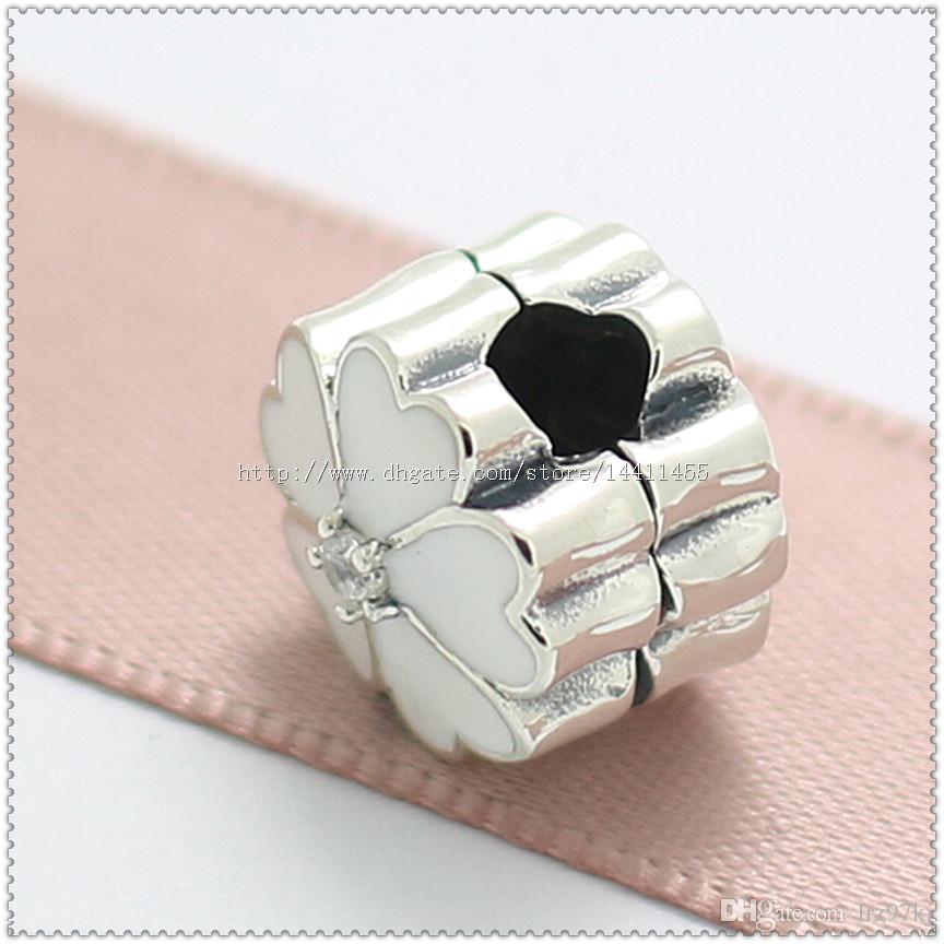 Novo 2016 Primavera 925 Sterling Silver Primrose Clipe Charme Bead com Esmalte Branco e CZ Certo Serve Pulseiras Jóias Europeus colar