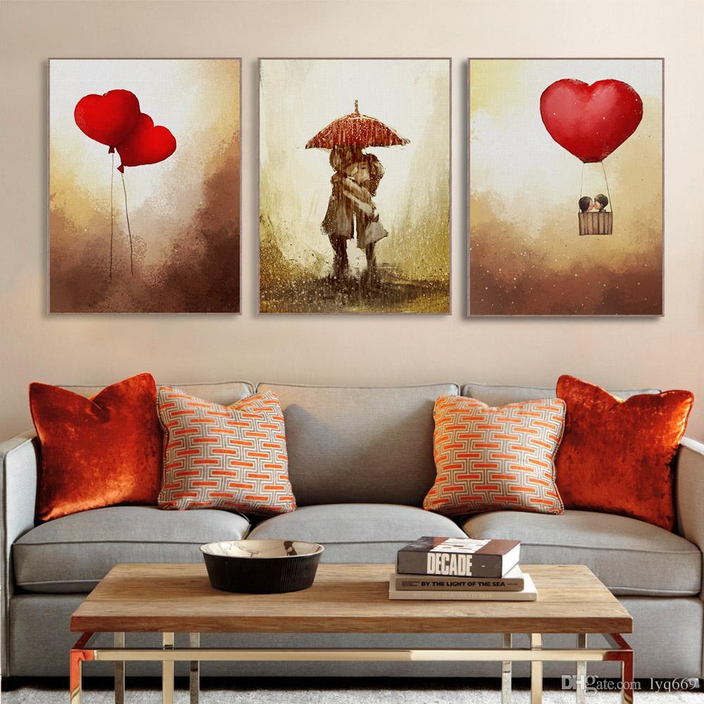 Vintage Romantik Sevgililer Aşk Kalp Balon Posteri Modern Kız Odası Duvar Sanat Baskı Resim Tuval Boyama Ev Deco No Frame