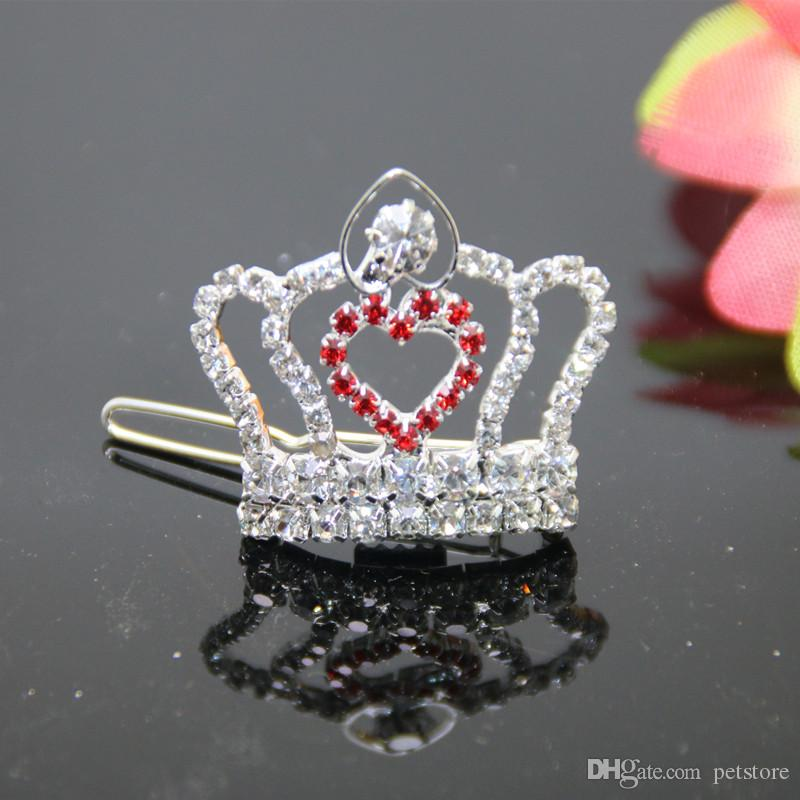 wholesale new arrivals !luxury rhinestone crown with red heart for pets hairwear ornaments girl hair clip jewelry white, pink,blue colo